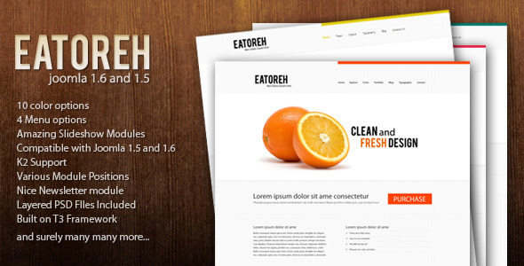 Eatoreh – Responsive and Fresh Joomla Template