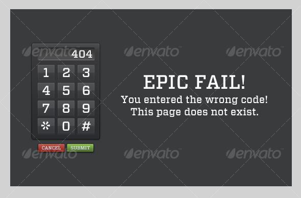 Code Fail Error Page - Web Elements