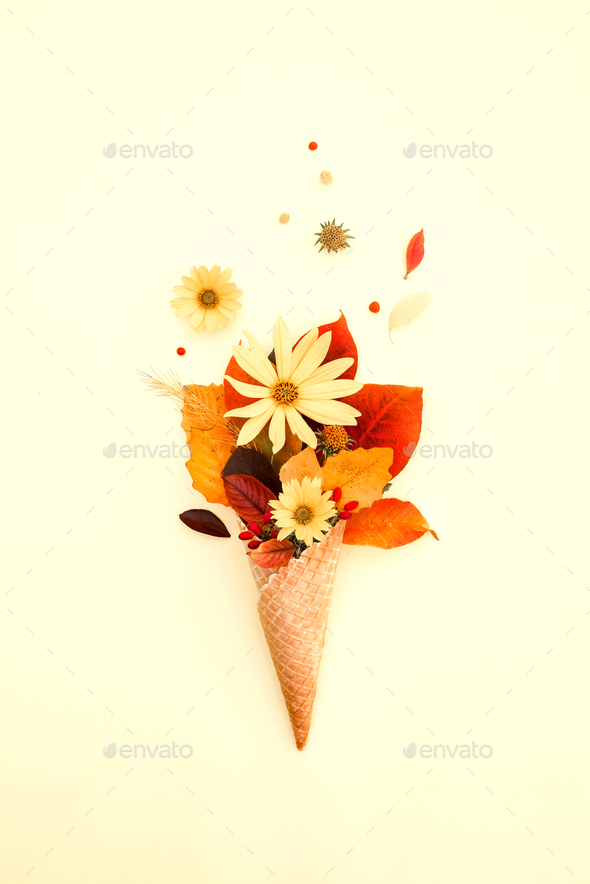 Fall bouquet of yellow leaves, flowers in cone, creative autumn concept - Stock Photo - Images