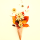 Fall bouquet of yellow leaves, flowers in cone, creative autumn concept - PhotoDune Item for Sale