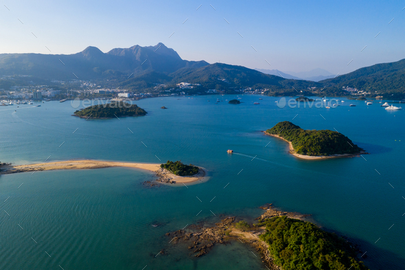 Aerial view of the island - Stock Photo - Images