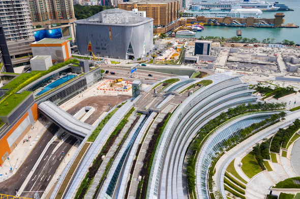Kowloon East, Hong Kong 09 May 2019: Drone fly over Hong Kong West Kowloon railway station - Stock Photo - Images