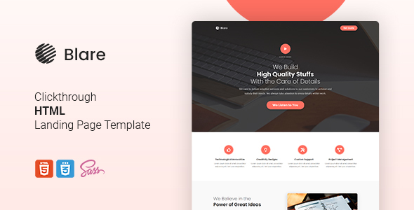 Blare - Clickthrough HTML Landing Page Template