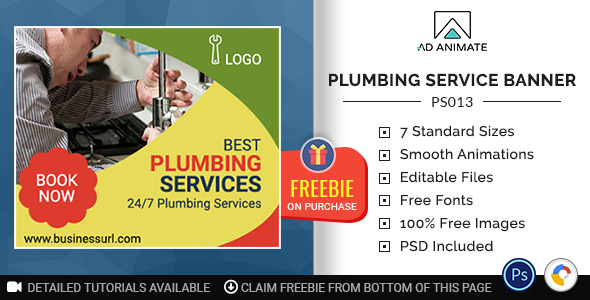 Professional Services   Plumbing Service Banner (PS013)