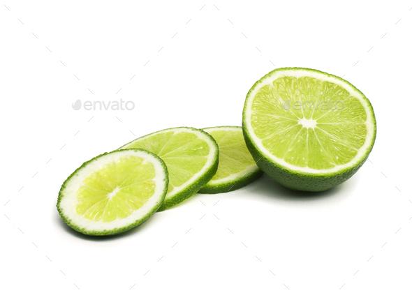 Fresh ripe lime isolated on white background - Stock Photo - Images