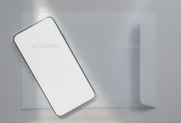 Close-up shot of A smartphone placed on a white envelope, Communication concept. - Stock Photo - Images
