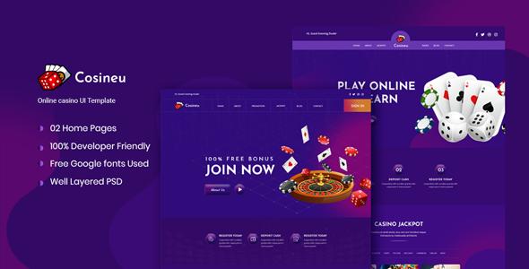 Cosineu - Neumorphic Online Casino  UI Template