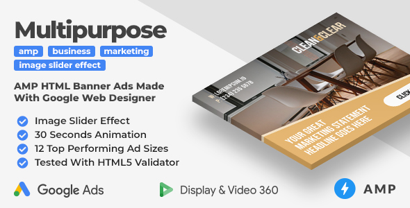 Clean & Clear - Multipurpose Animated AMP HTML Banner Ad Templates (GWD, AMP)