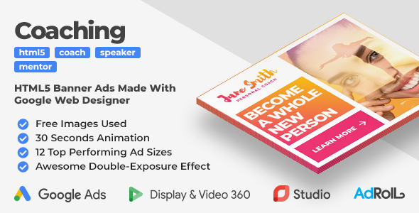 Coaching & Mentoring Animated HTML5 Banner Ad Templates With Double-Exposure Effect (GWD)