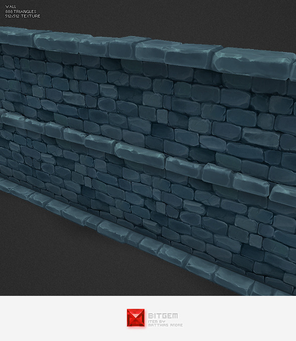 Low Poly Dungeon Stone Wall Segment - 3DOcean Item for Sale