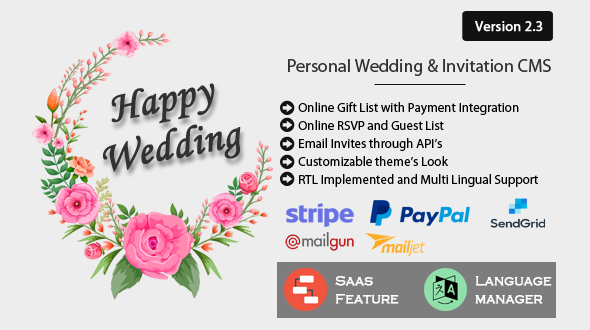 Happy Wedding - Personal Wedding & Invitation CMS