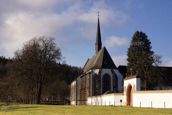 View at Mariawald Abbey - Stock Photo - Images