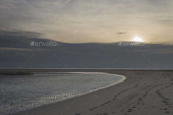 Sunset Maasvlakte beach - Stock Photo - Images
