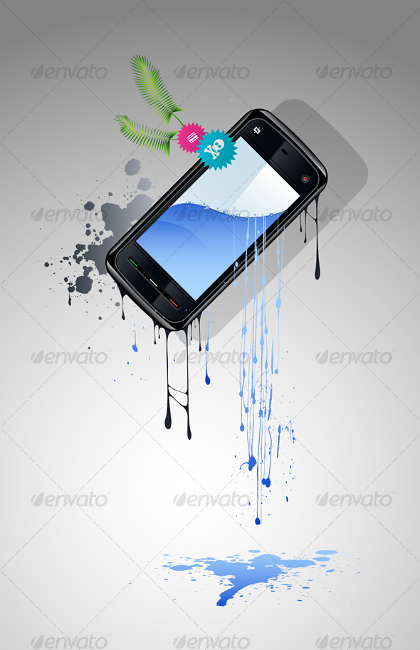 Cell Phone With a Screen From Which Water Flows - Communications Technology