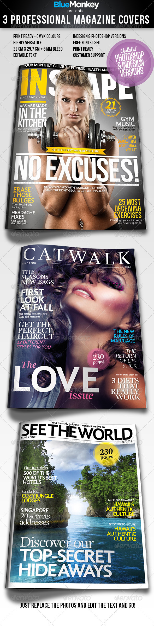 3 Professional Magazine Cover Templates - Magazines Print Templates