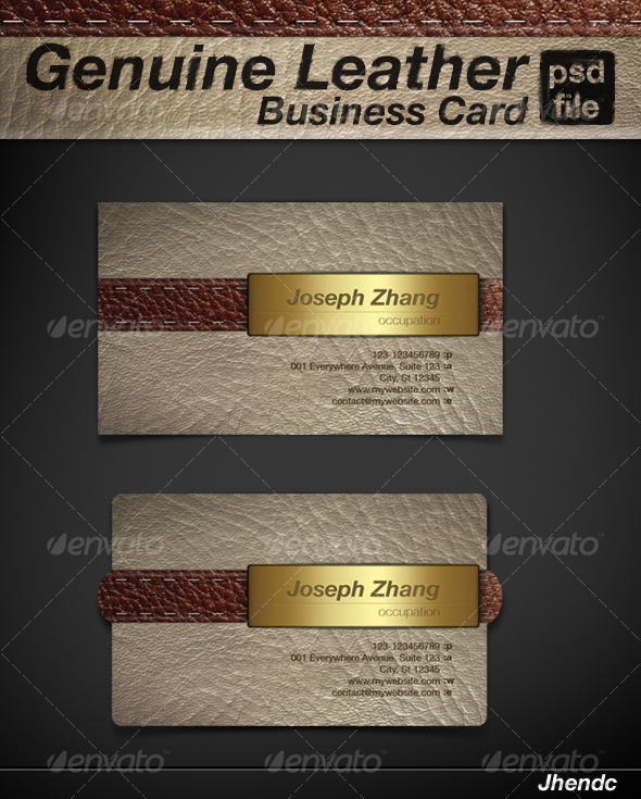 Genuine leather business card by jhendc graphicriver genuine leather business card retrovintage business cards colourmoves