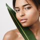 Image of shirtless african american woman posing with green leaf - PhotoDune Item for Sale