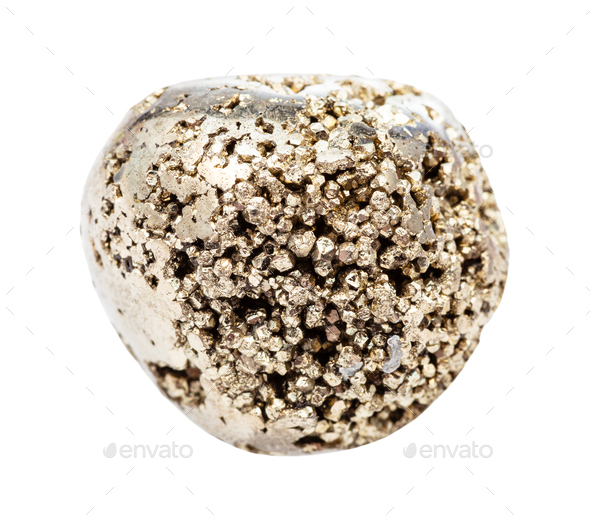 rolled Pyrite (fool's gold) stone isolated - Stock Photo - Images