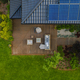 Top view of suburban house with green garden and wooden terrace - PhotoDune Item for Sale