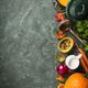 Pumpkin soup on green vintage background - PhotoDune Item for Sale