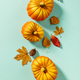 Autumn background creative layout with decorative small pumpkins and autumn leaves - PhotoDune Item for Sale