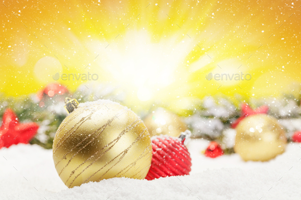 Christmas greeting card with decor in snow - Stock Photo - Images