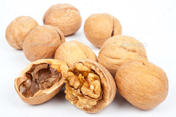 Group of walnuts on white background - Stock Photo - Images