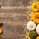 Thanksgiving background with decorative pumpkins, pumpkin pies and candles - PhotoDune Item for Sale