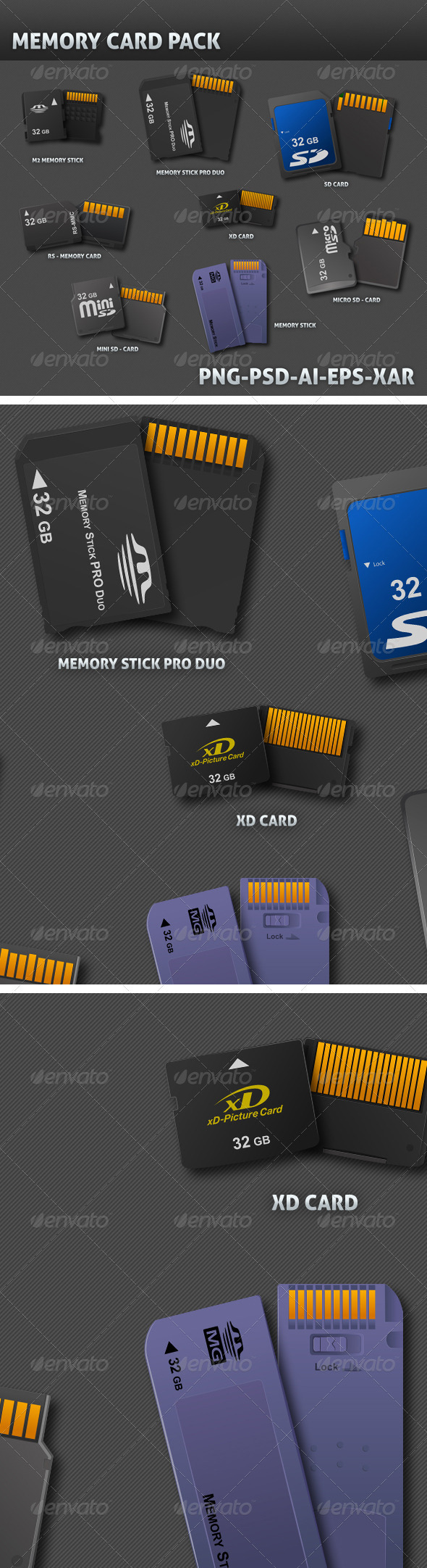 8 Realistic Memory Card 3D Vector - Objects Illustrations