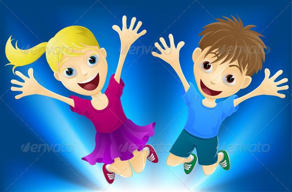 Happy children jumping for joy - Characters Vectors