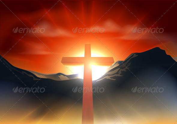 Christian Easter cross concept - Religion Conceptual