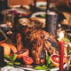 Christmas table with roasted turkey, chocolate cake and candles - PhotoDune Item for Sale