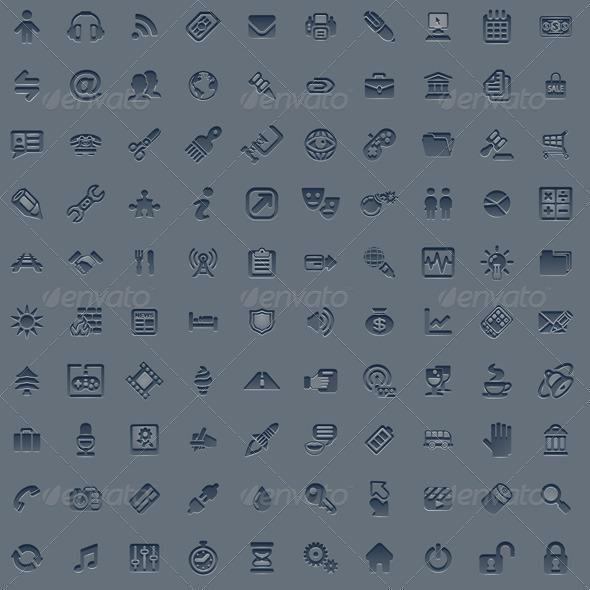 100 professional grey web icon set - Web Icons