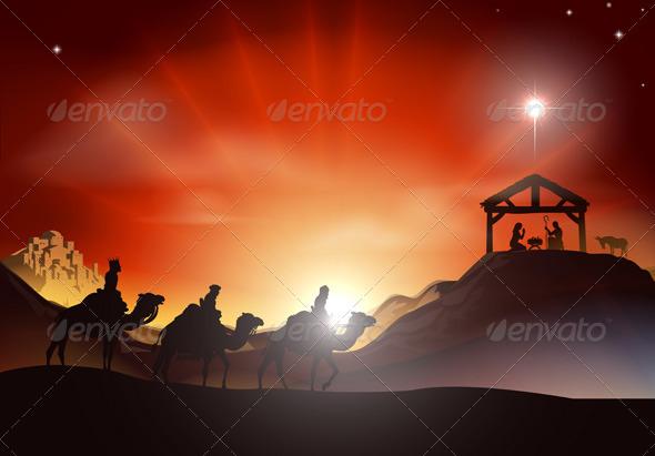 Traditional Christmas Nativity Scene - Christmas Seasons/Holidays