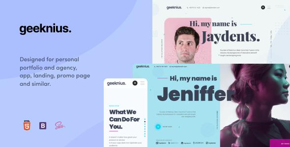 Extraordinary Geeknius - Modern & Creative CV/Resume HTML & SASS Template