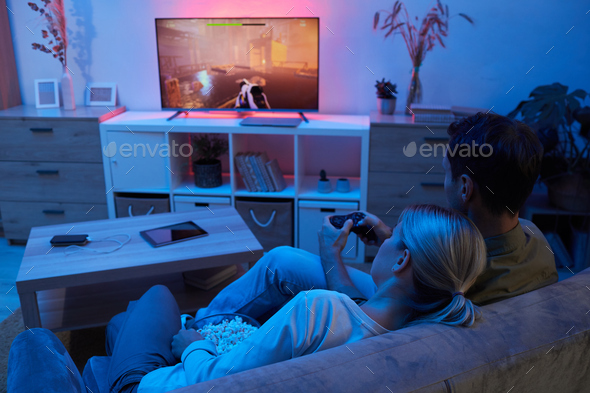Playing leisure game at home - Stock Photo - Images