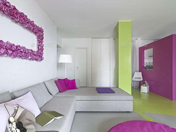 interior of a Modern Living Room with Colored Walls - Stock Photo - Images