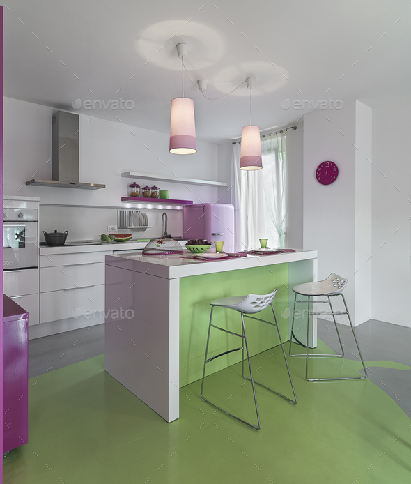 Interiors of a Modern Kitchen with Resin Floor - Stock Photo - Images