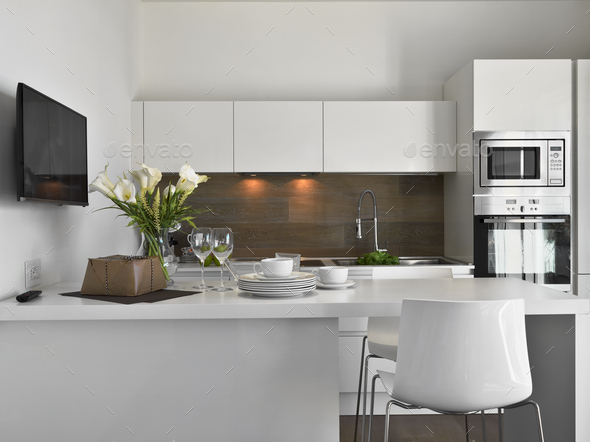Interiors of a Modern Kitchen - Stock Photo - Images