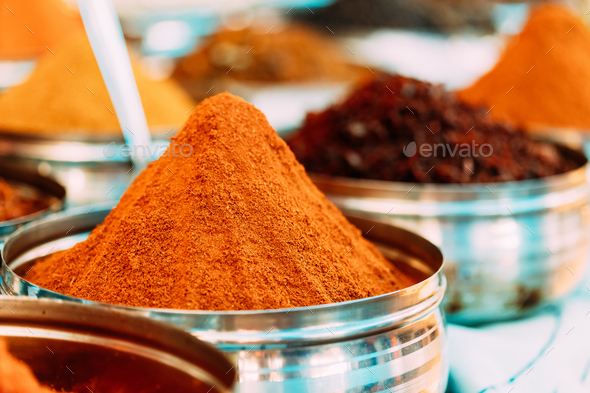 Close View Of Masala Curry, Bright Colors Fragrant Seasoning, Condiment In Tray On Local Food Market - Stock Photo - Images