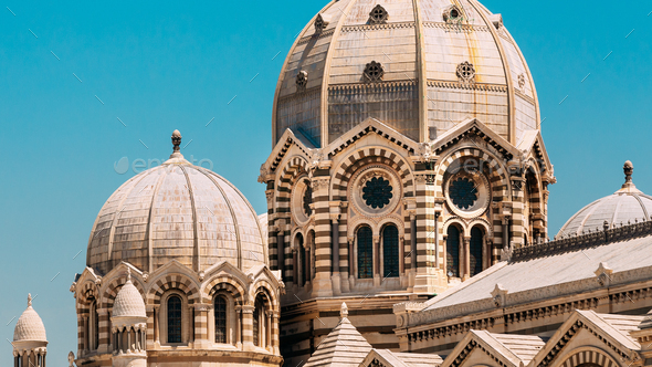 Marseille, France. Domes Of Cathedral De La Major - Church And Landmark In Marseille, France - Stock Photo - Images
