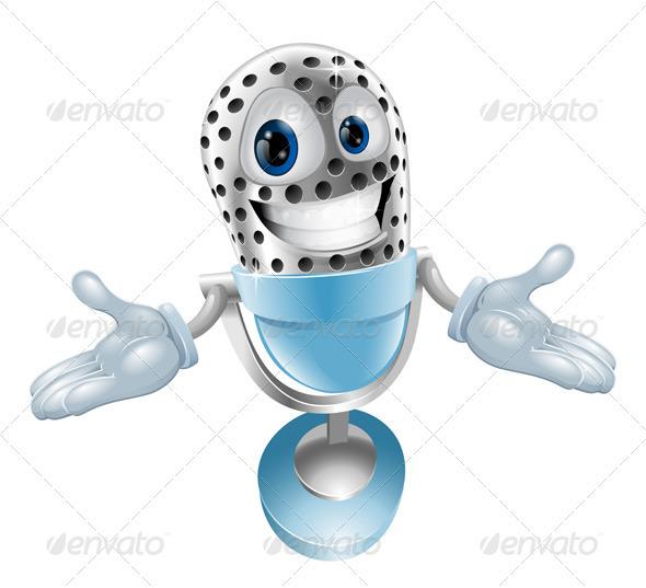 Cartoon microphone mascot - Characters Vectors