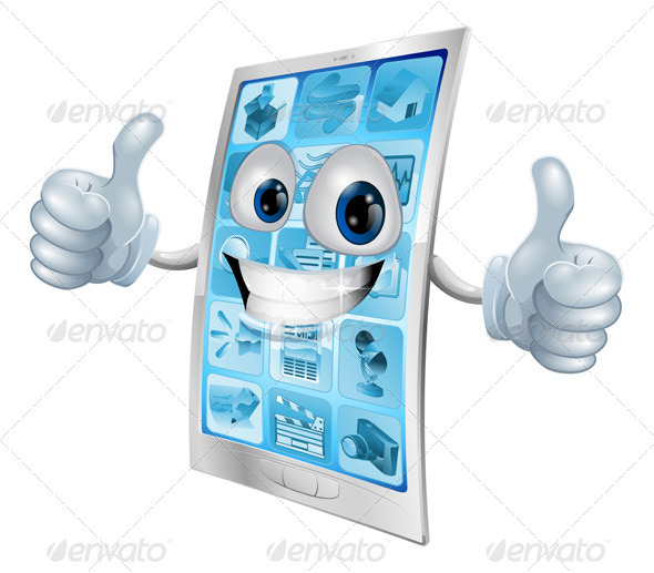 Mobile phone mascot double thumbs up - Characters Vectors