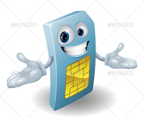 Mobile phone sim card mascot - Characters Vectors