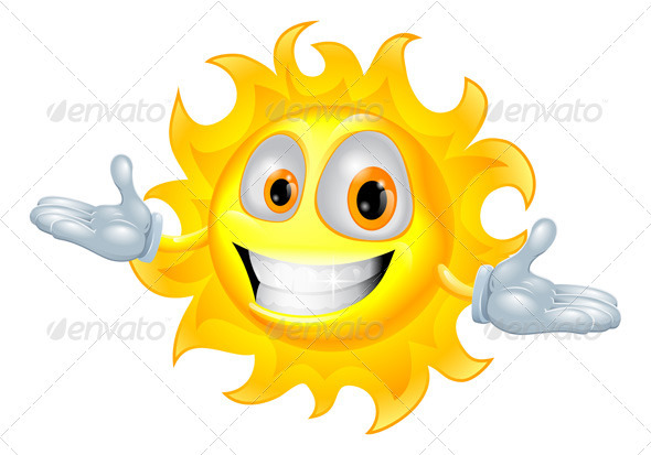 Cute sun mascot cartoon character - Characters Vectors