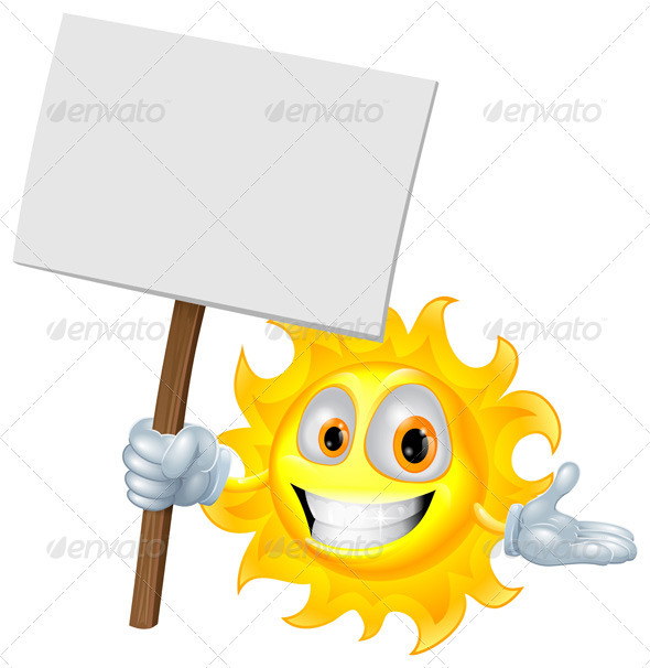 Sun character holding a sign board - Characters Vectors
