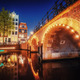 Canal in Amsterdam at night. Highlighting buildings and streets - PhotoDune Item for Sale