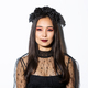 Close-up of beautiful gothic girl with black wreath, getting dressed for halloween party, standing - PhotoDune Item for Sale