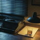 Vintage writer desktop with typewriter and a glass of whiskey - PhotoDune Item for Sale