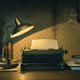 Vintage film noir office desk with old typewriter - PhotoDune Item for Sale